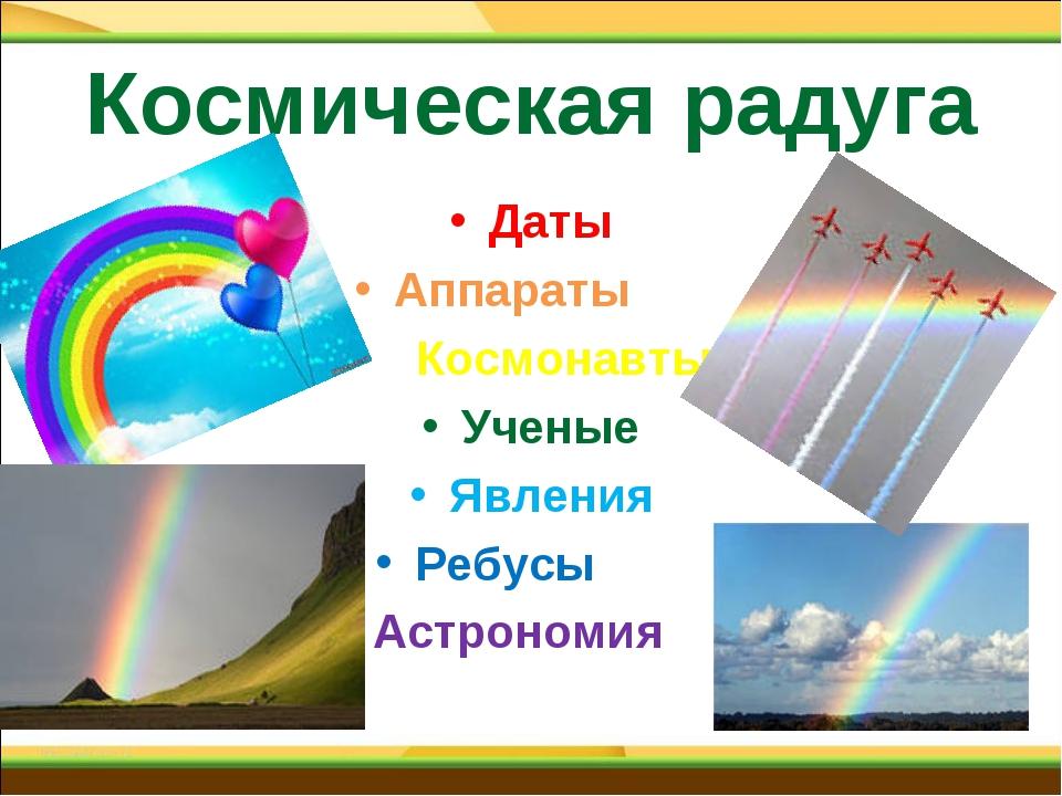 Космическая радуга Даты Аппараты Космонавты Ученые Явления Ребусы Астрономия