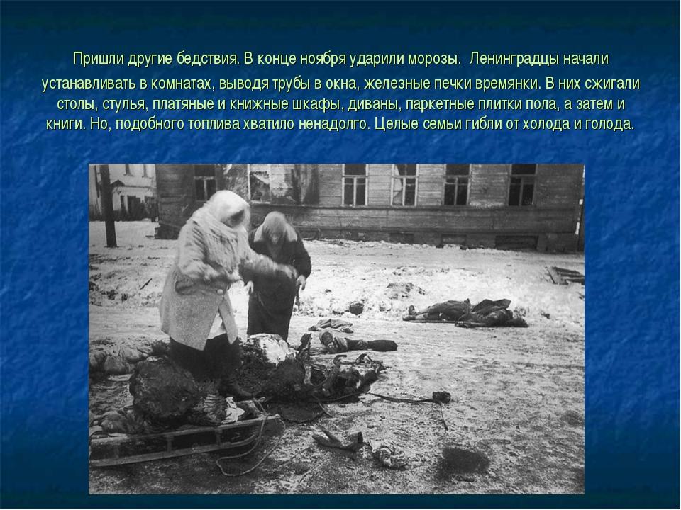 Пришли другие бедствия. В конце ноября ударили морозы. Ленинградцы начали уст...