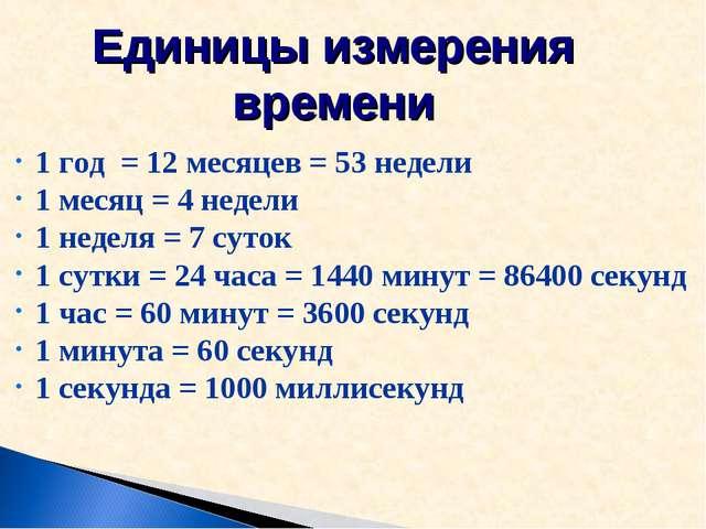 Единицы измерения времени 1 год = 12 месяцев = 53 недели 1 месяц = 4 недели...