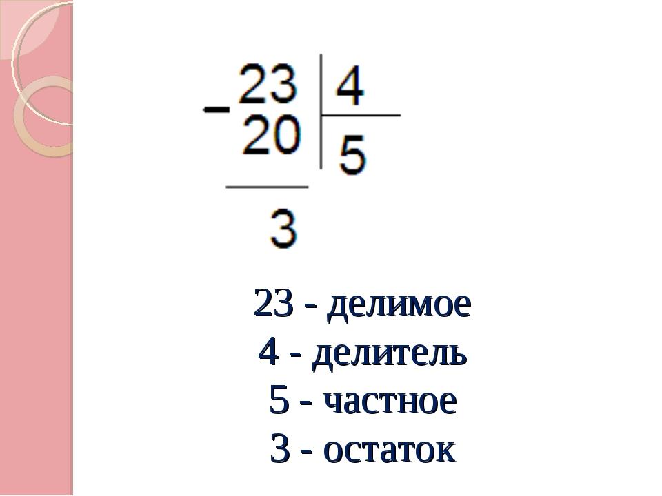 23 - делимое 4 - делитель 5 - частное 3 - остаток