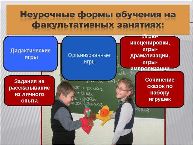 Дидактические игры Организованные игры Игры-инсценировки, игры-драматизации,...