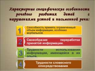 Характерные специфические особенности речевого развития детей с нарушениями у