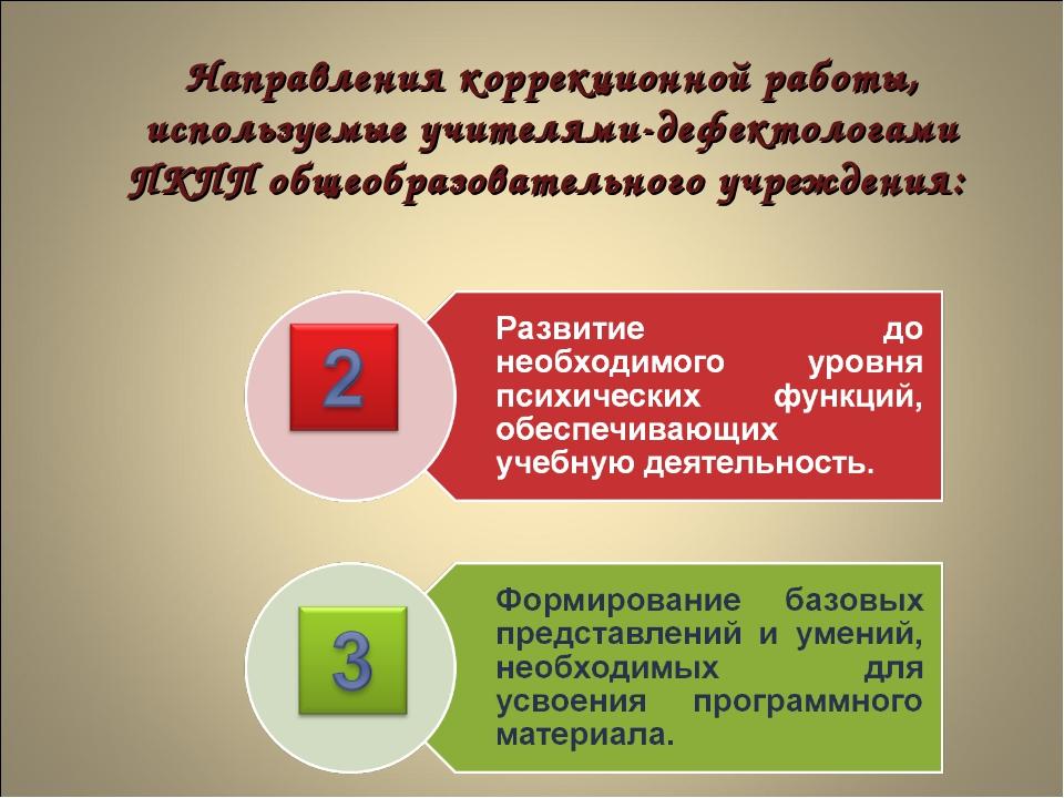 Направления коррекционной работы, используемые учителями-дефектологами ПКПП о...
