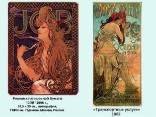 """Реклама папиросной бумаги """"JOB""""1896 г., 51,5 x 39 см., литография, ГМИИ им. П"""