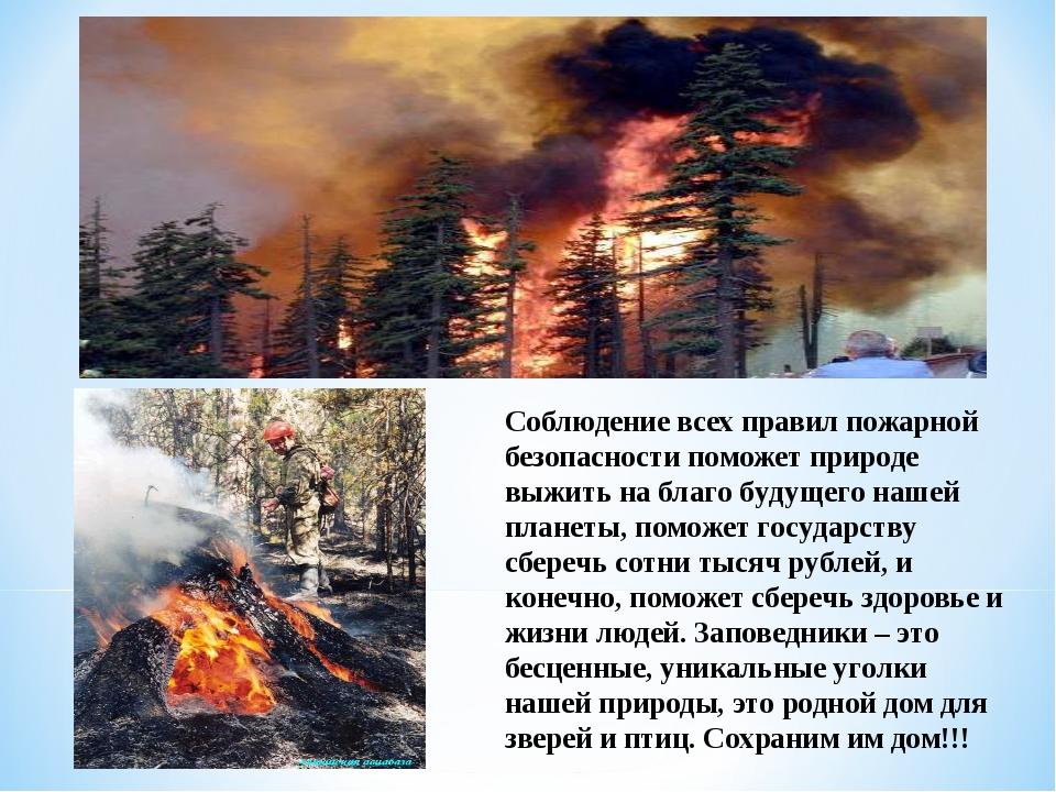 Соблюдение всех правил пожарной безопасности поможет природе выжить на благо...