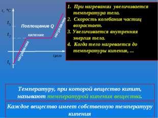 кипение нагревание Поглощение Q 1. При нагревании увеличивается температура т