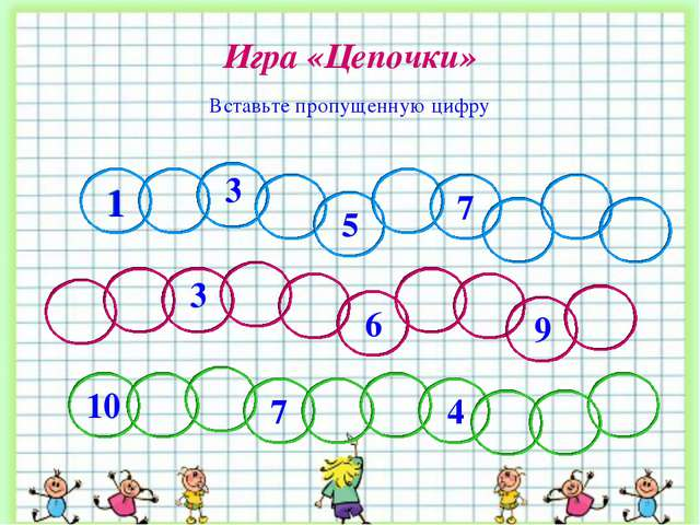 Игра «Цепочки» Вставьте пропущенную цифру