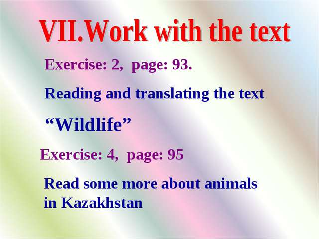 "Exercise: 2, page: 93. Reading and translating the text ""Wildlife"" Exercise:..."