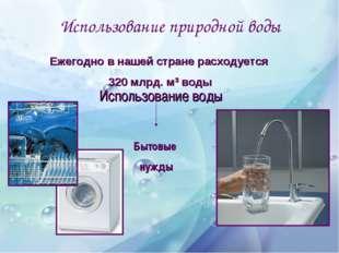 Использование природной воды Использование воды Бытовые нужды Ежегодно в наше