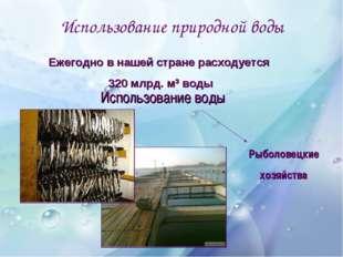 Использование природной воды Использование воды Рыболовецкие хозяйства Ежегод