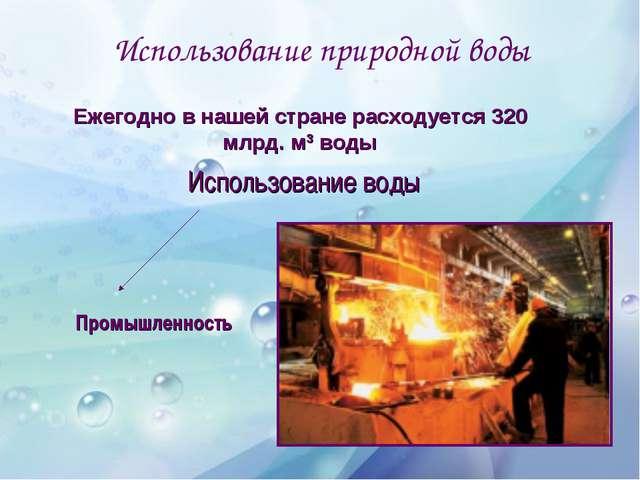 Использование природной воды Использование воды Промышленность Ежегодно в наш...