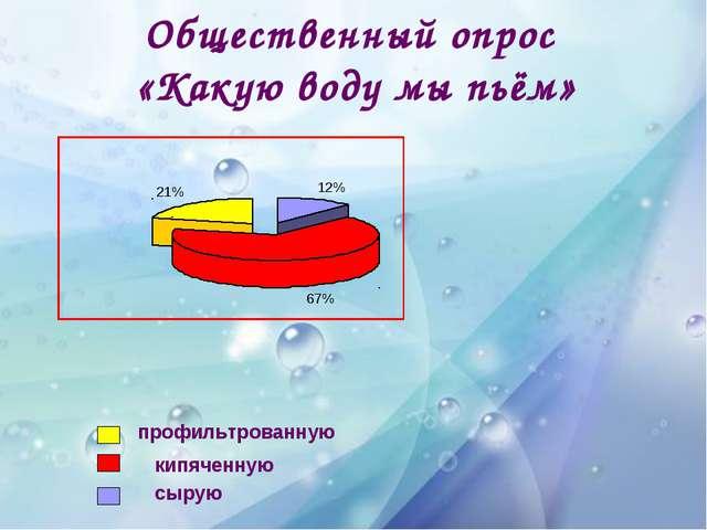Общественный опрос «Какую воду мы пьём» профильтрованную кипяченную сырую 12%...