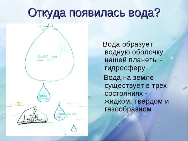 Откуда появилась вода? Вода образует водную оболочку нашей планеты - гидросфе...