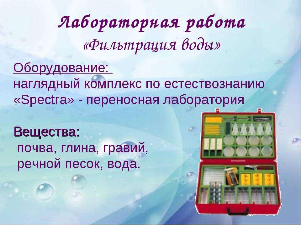 Лабораторная работа «Фильтрация воды» Оборудование: наглядный комплекс по ест...