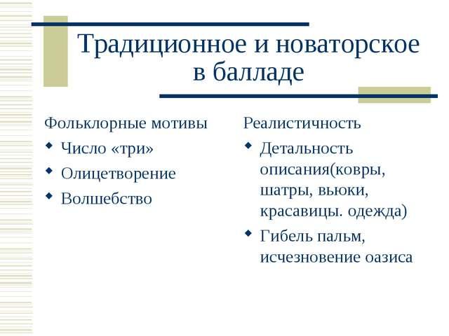 Традиционное и новаторское в балладе Фольклорные мотивы Число «три» Олицетвор...