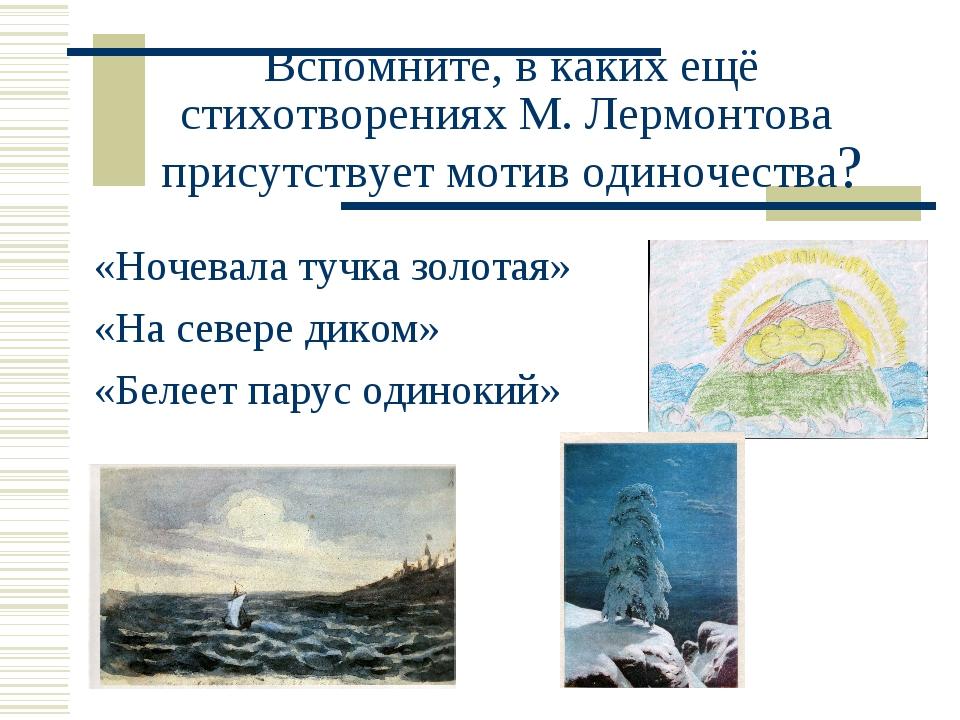 Вспомните, в каких ещё стихотворениях М. Лермонтова присутствует мотив одиноч...