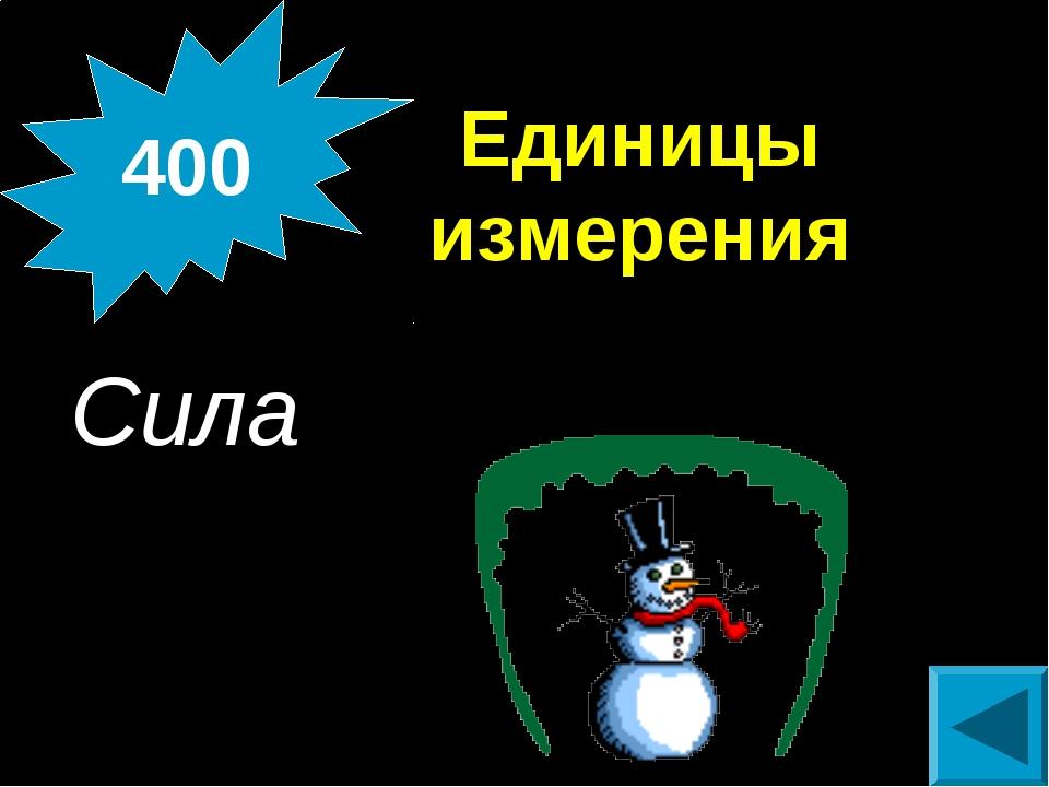Единицы измерения Сила 400