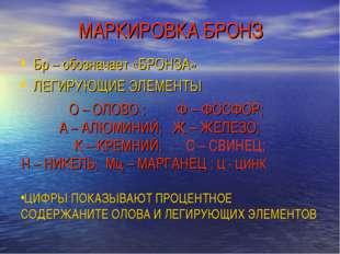 МАРКИРОВКА БРОНЗ Бр – обозначает «БРОНЗА» ЛЕГИРУЮЩИЕ ЭЛЕМЕНТЫ О – ОЛОВО ; Ф –