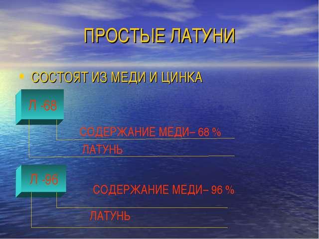 ПРОСТЫЕ ЛАТУНИ СОСТОЯТ ИЗ МЕДИ И ЦИНКА Л -96 Л -68 СОДЕРЖАНИЕ МЕДИ– 68 % ЛАТУ...