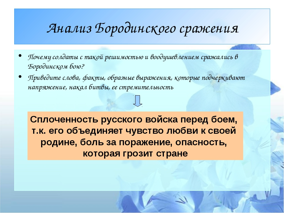 Анализ Бородинского сражения Почему солдаты с такой решимостью и воодушевлени...