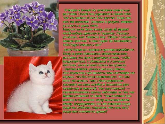 И Мария и белый кот полюбили комнатные растения. Порой она удивлялась самой...