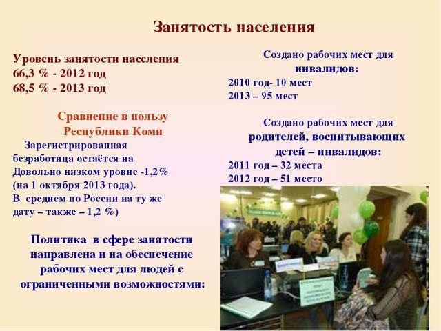 Занятость населения Уровень занятости населения 66,3 % - 2012 год 68,5 % - 20...