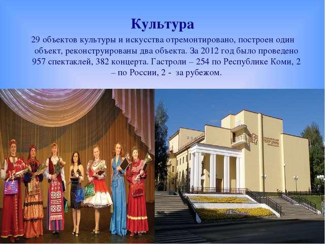 Культура 29 объектов культуры и искусства отремонтировано, построен один объе...
