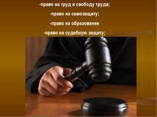 -право на труд и свободу труда; -право на самозащиту; -право на образование -