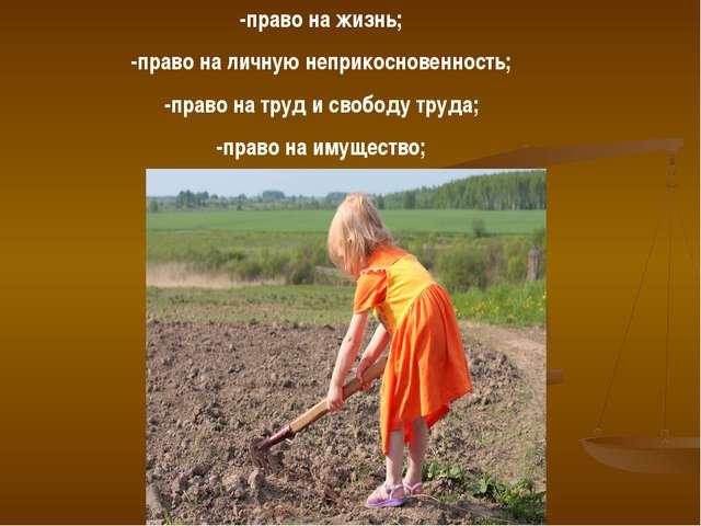 -право на жизнь; -право на личную неприкосновенность; -право на труд и свобод...