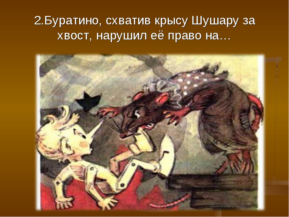 2.Буратино, схватив крысу Шушару за хвост, нарушил её право на…