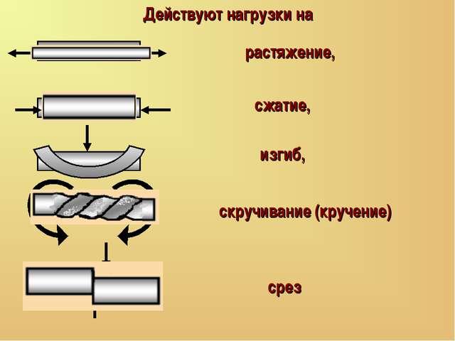 Действуют нагрузки на растяжение, сжатие, скручивание (кручение) изгиб, срез