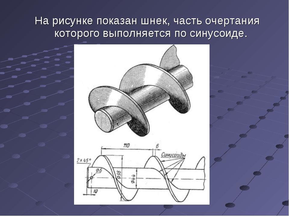 На рисунке показан шнек, часть очертания которого выполняется по синусоиде.
