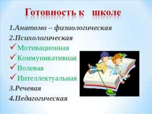1.Анатомо – физиологическая 2.Психологическая Мотивационная Коммуникативная В