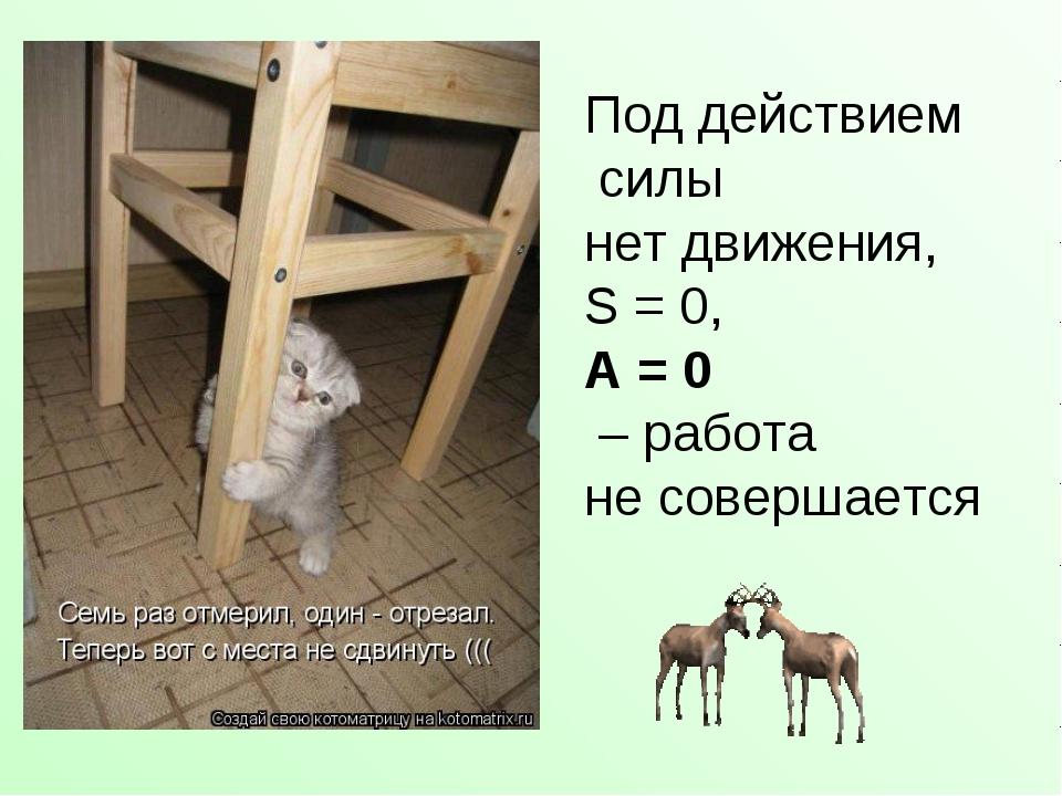 Под действием силы нет движения, S = 0, А = 0 – работа не совершается