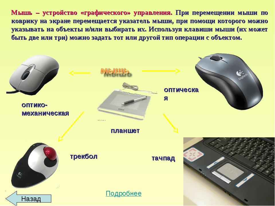 Мышь – устройство «графического» управления. При перемещении мыши по коврику...