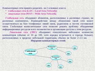 Компьютерные сети принято разделять на 2 основных класса: глобальные сети (LA