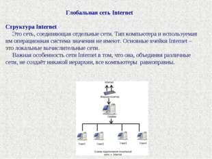 Глобальная сеть Internet Структура Internet Это сеть, соединяющая о