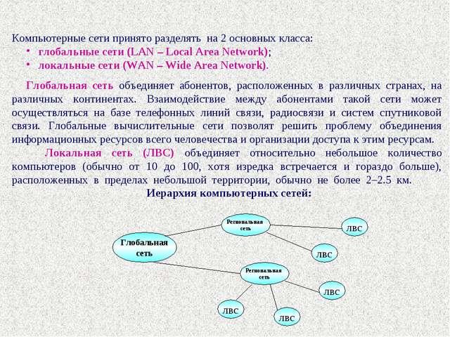 Компьютерные сети принято разделять на 2 основных класса: глобальные сети (LA...