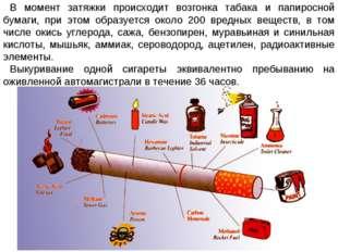 В момент затяжки происходит возгонка табака и папиросной бумаги, при этом обр