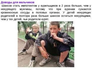 Доводы для мальчиков Шансов стать импотентом у курильщиков в 2 раза больше,
