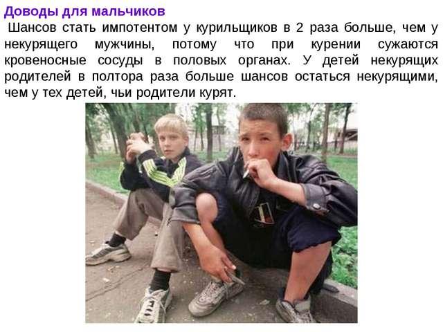 Доводы для мальчиков Шансов стать импотентом у курильщиков в 2 раза больше,...