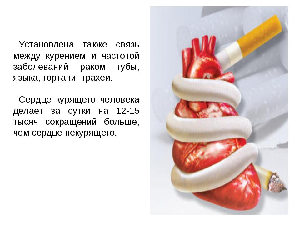 Установлена также связь между курением и частотой заболеваний раком губы, язы...