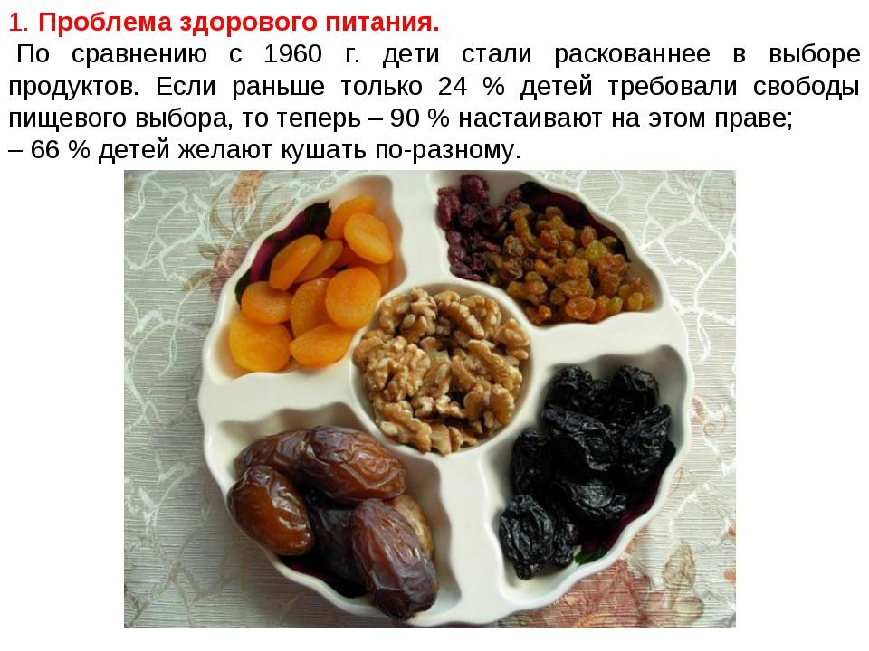 1. Проблема здорового питания. По сравнению с 1960 г. дети стали раскованнее...