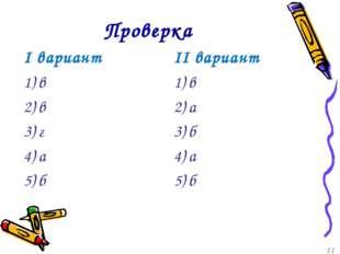 Проверка I вариант 1) в 2) в 3) г 4) а 5) б II вариант 1) в 2) а 3) б 4) а 5)