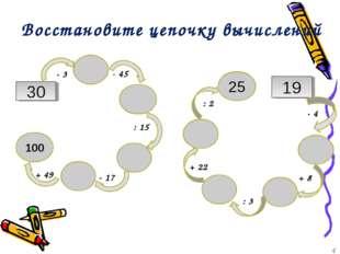 Восстановите цепочку вычислений 30 100 25 19 ∙ 3 - 45 : 15 ∙ 17 + 49 ∙ 4 + 22