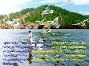 * Приняты постановления правительства по охране природы Байкала — о регулиров