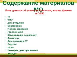 Содержание материалов МО Банк данных об учителях биологии, химии, физики и ОБ