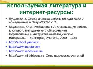 Используемая литература и интернет-ресурсы: Бурденюк З. Схема анализа работы