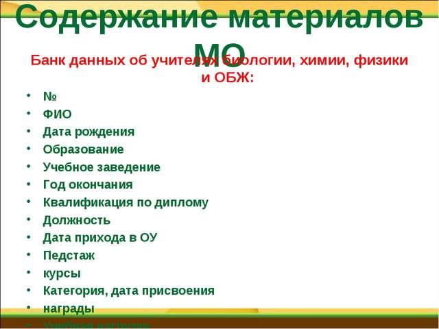 Содержание материалов МО Банк данных об учителях биологии, химии, физики и ОБ...