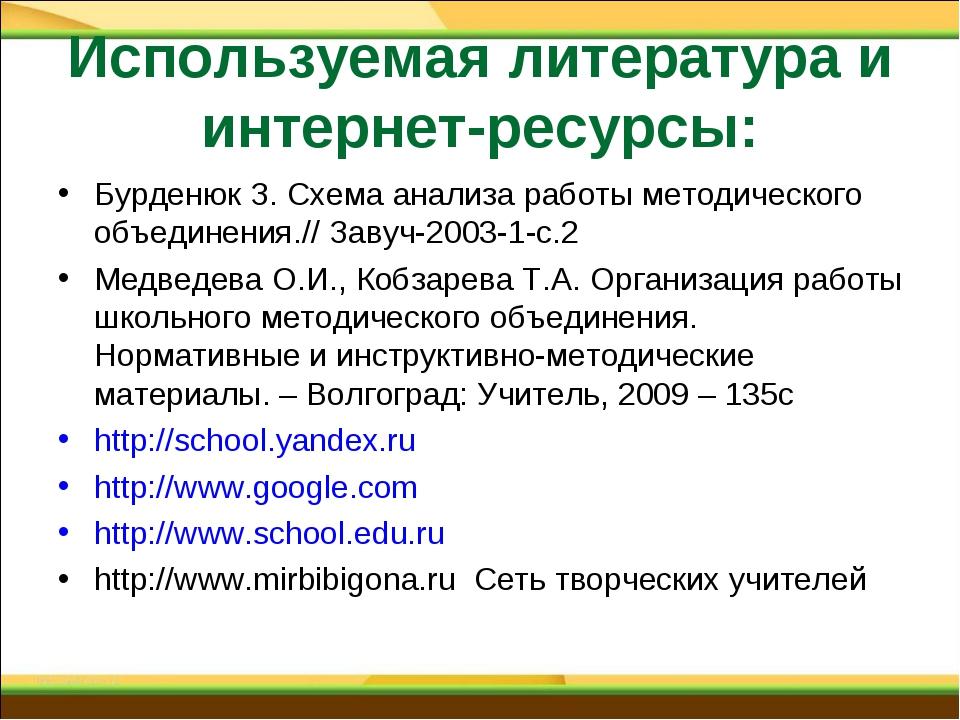 Используемая литература и интернет-ресурсы: Бурденюк З. Схема анализа работы...